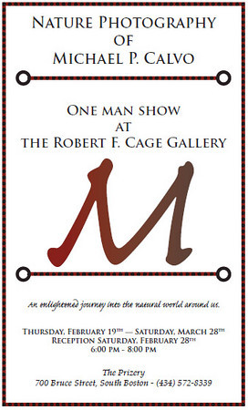 """<a href=""""http://www.prizery.com"""">The Prizery - South Boston, VA</a> <br>February - May 2009<br> """"The Enlightened Journey Exhibit"""" - One man show <br><a href=""""http://www.michaelpcalvo.com/Exhibits/EJE"""">Purchase Images from Exhibit</a>"""