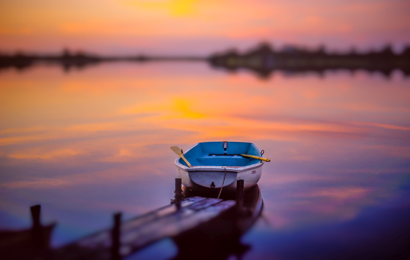 Boat on Trapps Pond | Sunset