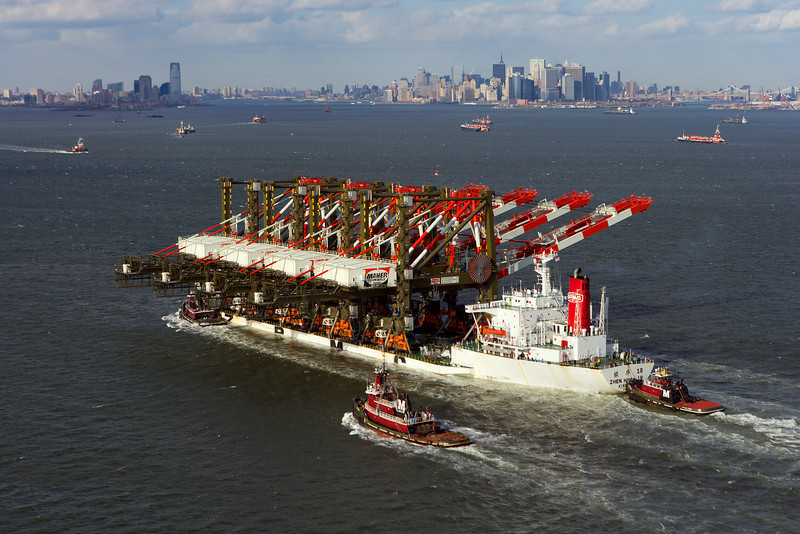 Freighter Carrying Super-Post Panamax Cranes - NYC Harbor