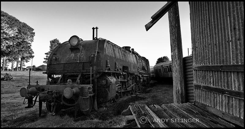 a locomotive is shown near a railway siding, situated in dorrigo, NSW.