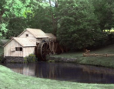 MABRY MILL-HAND COLORED B&W