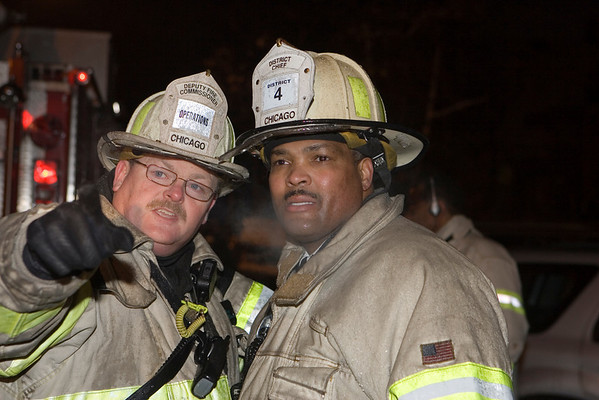 4-11, 1/21/06, 26th & St. Louis<br /> Deputy Fire Commissioner-Operations Gene Ryan (l) and 4th District Chief John Brooks at 4-11 at 26th and St. Louis, Chief Brooks was some time later promoted to CFD 1st deputy Commissioner