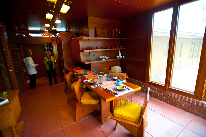 North America, USA, Alabama, Florence, Frank Lloyd Wright Usonian House of Stanley and Mildred Rosenbaum, Dining Area