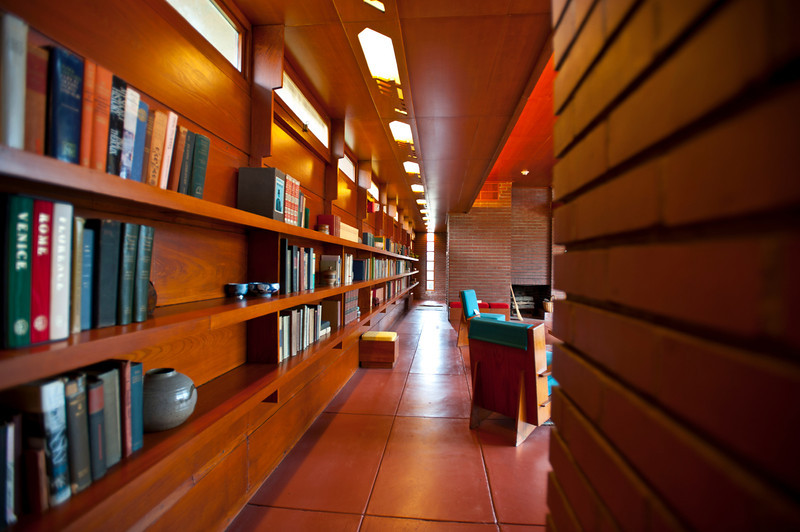 North America, USA, Alabama, Florence, Frank Lloyd Wright Usonian House of Stanley and Mildred Rosenbaum< Hallway from Studt to Front Entry