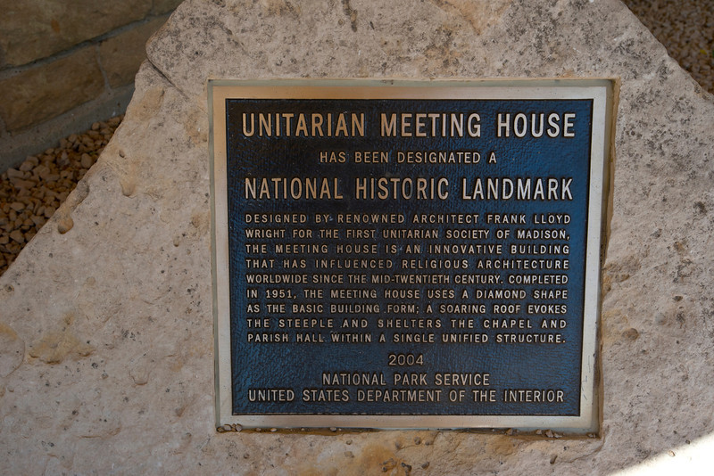 North America, USA, Shorewood Hills, Wisconsin, Unitarian Meeting House, National Historic Landmark Marker