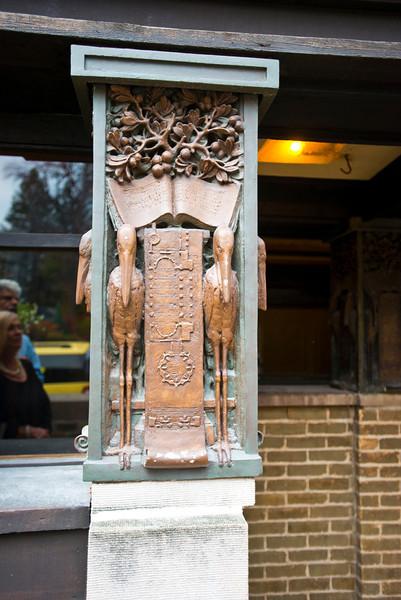 North America, USA, Illinois, Oak Park, Frank Lloyd Wright, Home and Studio, 951 Chicago Avenue, Studio Entrance  Decorative pillars