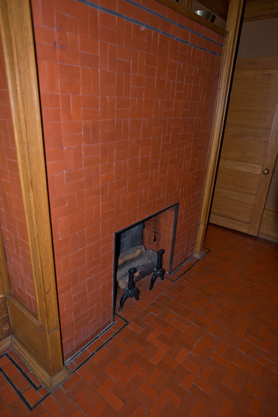 North America, USA, Illinois, Oak Park, Frank Lloyd Wright, Home and Studio, 951 Chicago Avenue, Dining Room Fireplace