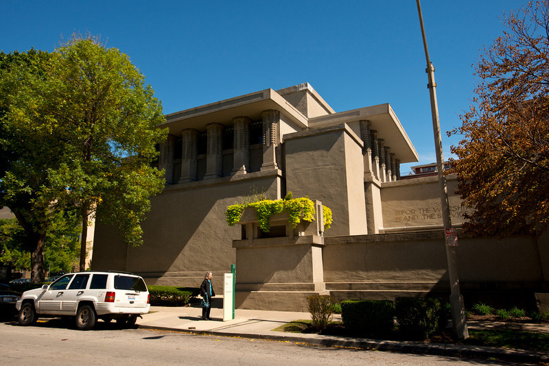 North America, USA, Illinois, Oak Park, Unity Temple designed by Frank Lloyd Wright