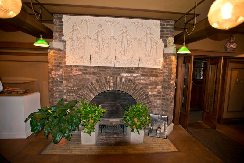 North America, USA, Illinois, Oak Park, Frank Lloyd Wright, Home and Studio, 951 Chicago Avenue, Studio Principal Work Area Fireplace