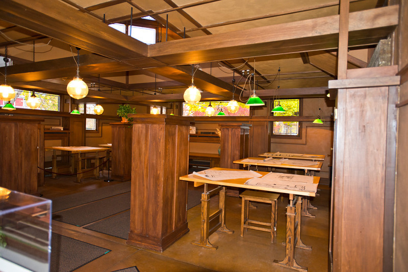 North America, USA, Illinois, Oak Park, Frank Lloyd Wright, Home and Studio, 951 Chicago Avenue, Studio Principal work area, drafting tables