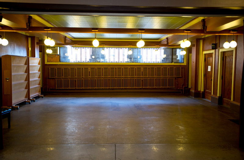 North America, USA, Illinois, Oak Park, Frank Lloyd Wright, Unity Temple, Built in 1906, Meeting Hall