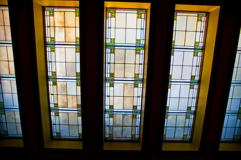 North America, USA, Illinois, Oak Park, Frank Lloyd Wright, Unity Temple, Built in 1906, Meeting Hall Skylight of Wright Design