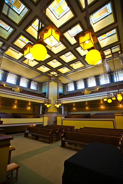 North America, USA, Illinois, Oak Park, Frank Lloyd Wright, Unity Temple, Built in 1906, Sanctuary CDeiling