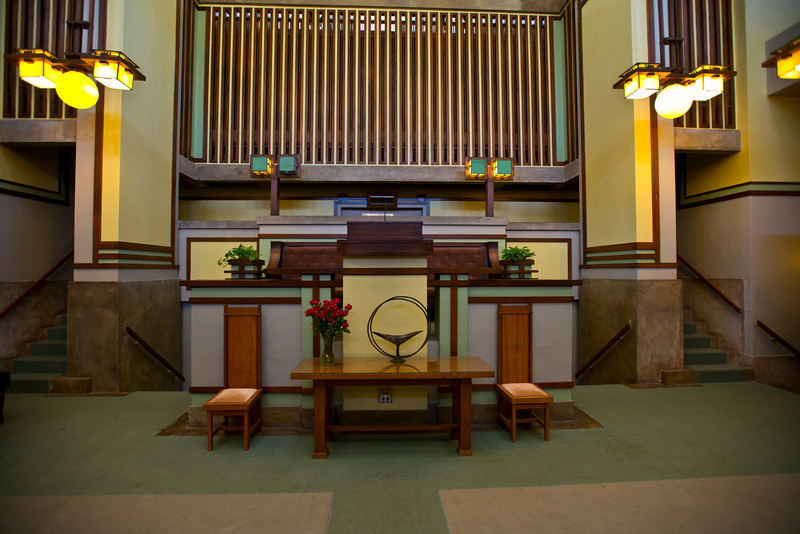 North America, USA, Illinois, Oak Park, Frank Lloyd Wright, Unity Temple, Built in 1906, Pulpit