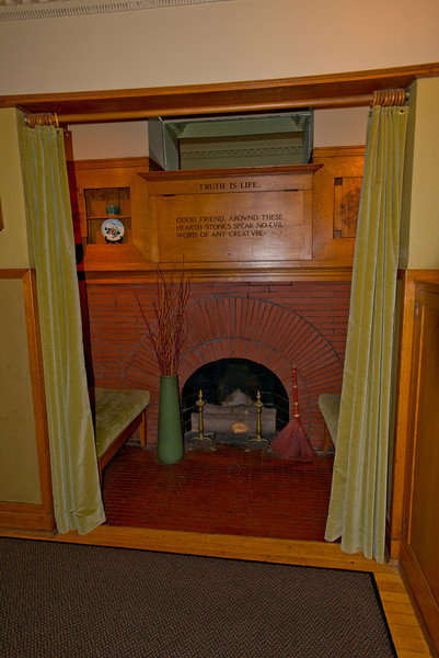North America, USA, Illinois, Oak Park, Frank Lloyd Wright, Home and Studio, 951 Chicago Avenue, Fireplace Alcove