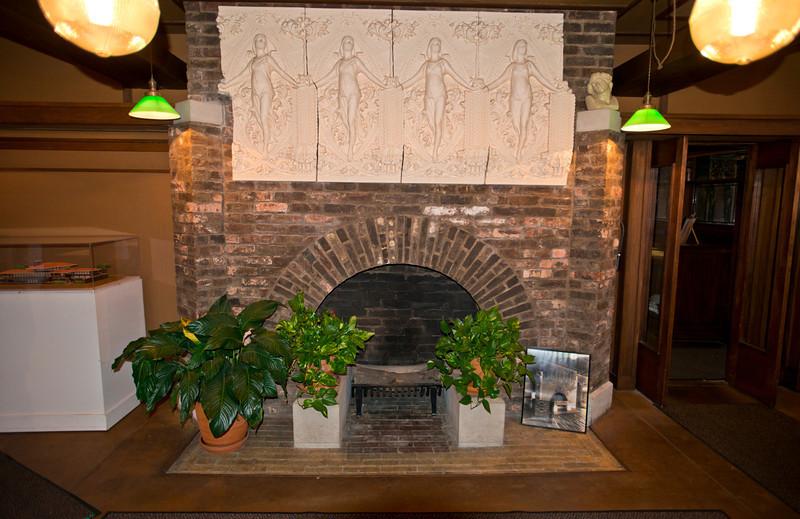 North America, USA, Illinois, Oak Park, Frank Lloyd Wright, Home and Studio, 951 Chicago Avenue, Studio Principal Work Area Fireplace