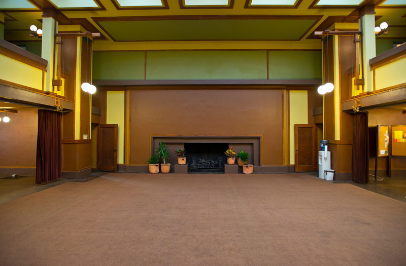 North America, USA, Illinois, Oak Park, Frank Lloyd Wright, Unity Temple, Built in 1906, Meeting Hall, and Fireplace