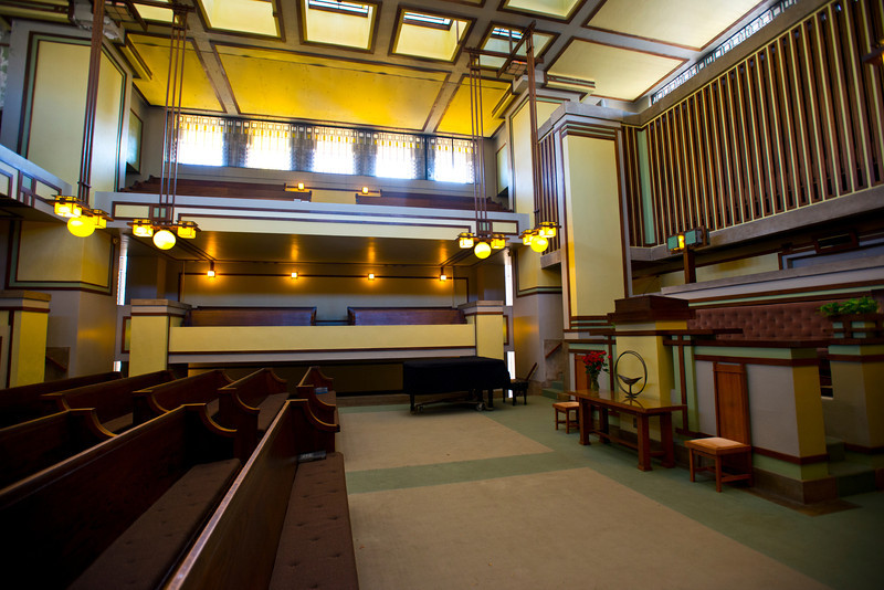 North America, USA, Illinois, Oak Park, Frank Lloyd Wright, Unity Temple, Built in 1906, Sanctuary