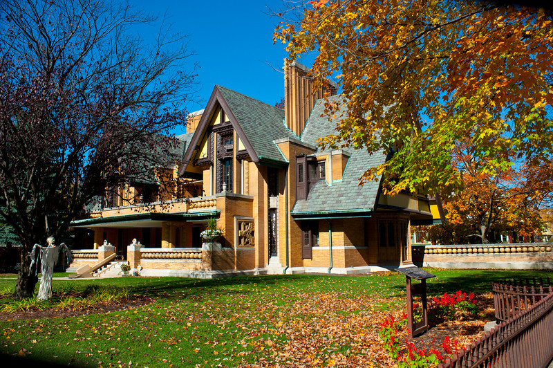 North America, USA, Illinois, Oak Park, Frank Lloyd Wright, Nathan G. Moore House, 333 Forest Anenue at Superior