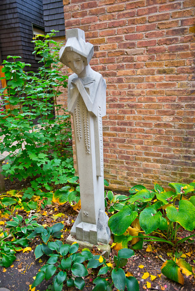 North America, USA, Illinois, Oak Park, Frank Lloyd Wright, Home and Studio, 951 Chicago Avenue, Contemplative Garden Sprite Sculpture Design by Wright executed by Alfonso Lanelli