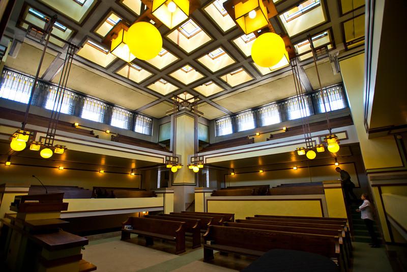 North America, USA, Illinois, Oak Park, Frank Lloyd Wright, Unity Temple, Built in 1906, Sanctuary CDeiling
