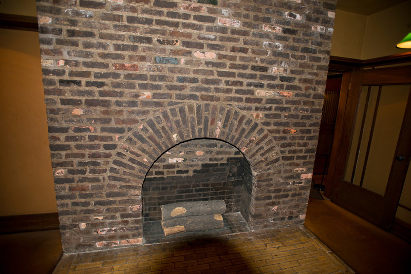 North America, USA, Illinois, Oak Park, Frank Lloyd Wright, Home and Studio, 951 Chicago Avenue, Studio Wrights Office Fireplace