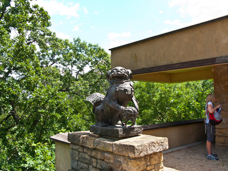USA, Wisconsin, Spring Green, Frank Lloyd Wright compound, Taliesin Private ResidenceFront Entrance Area Sculpture