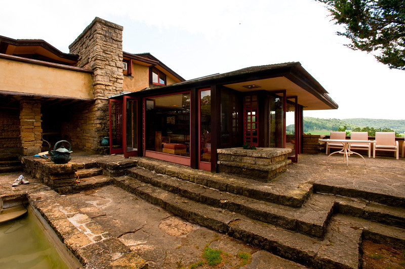 USA, Wisconsin, Spring Green. Frank Lloyd Wright, Taliesin, His Private Residence Terrace