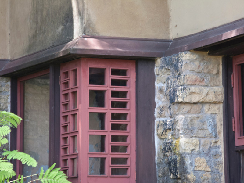 USA, Wisconsin, Spring Green, Frank Lloyd Wright compound, Taliesin Private ResidenceFront Entrance Area, Window Detail