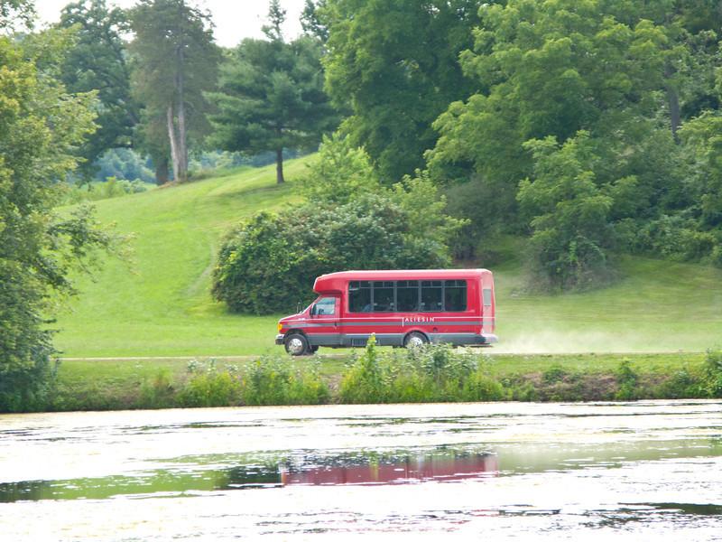 USA, Wisconsin, Spring Green, Frank Lloyd Wright compound, Taliesin, Tour Bus