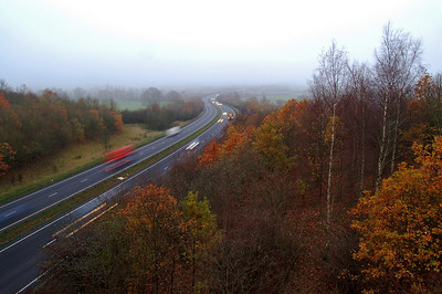 The A46 and Autumn colours from the Burton Road bridge