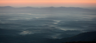 The foothills at dawn from Blue Ridge near Table Rock