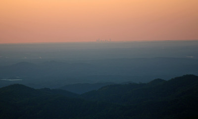 Charlotte skyline at dawn from the BRP along the side of Grandfather Mt