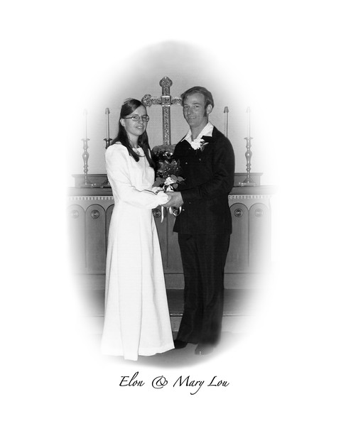 Elon and Mary Lou 8x10 oval bw