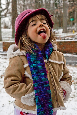 Catching snowflakes in Canton, NC.