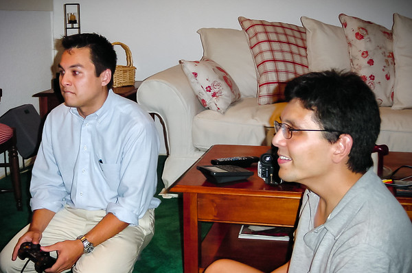 Cousins Mike and Eric face off in a Gran Turismo 3 split-screen race, both driving JGTC NSXs (Photo by Valerie Iwasaki)