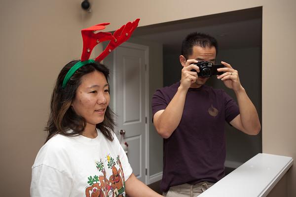 Lori wears reindeer horns