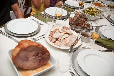 Ham, turkey, rack of lamb, veg...