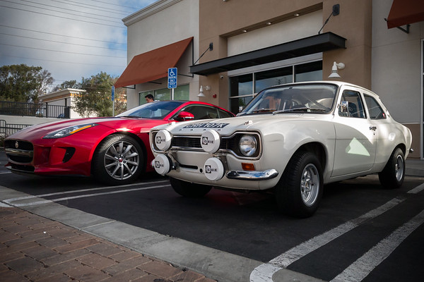 Ford Escort RS2000 Mark 1 next to a modern Jaguar F-Type