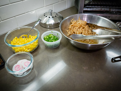 Toppings for the ramen are ready