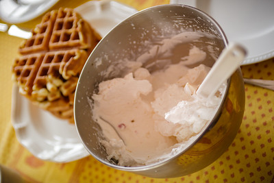 Valerie's homemade strawberry whipped cream adds that extra special touch