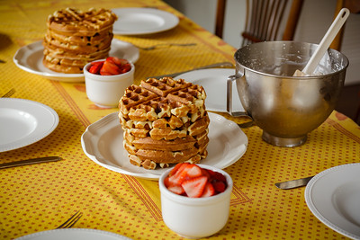The only time Valerie made strawberry waffles during the pandemic, she made them for Jane's family (and then she made another batch for me when I pouted).  This time she made them for Jane's family AND me...and we're able to enjoy them together in our home.  :)!