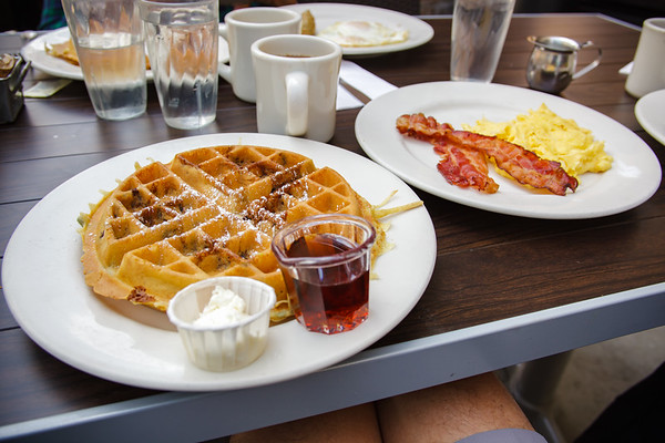 Mom and I both order the Good Stuff PV's mothers day weekend special...blueberry waffles, bacon or sausage, and eggs