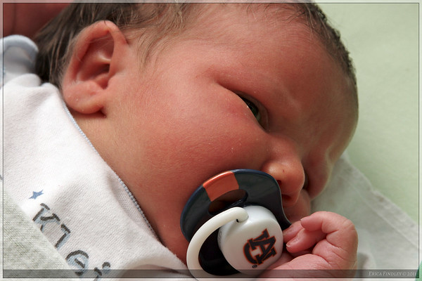 New pacifier: War Eagle!  LJ couldn't quite make up his mind if he liked the feel of this one in his mouth.