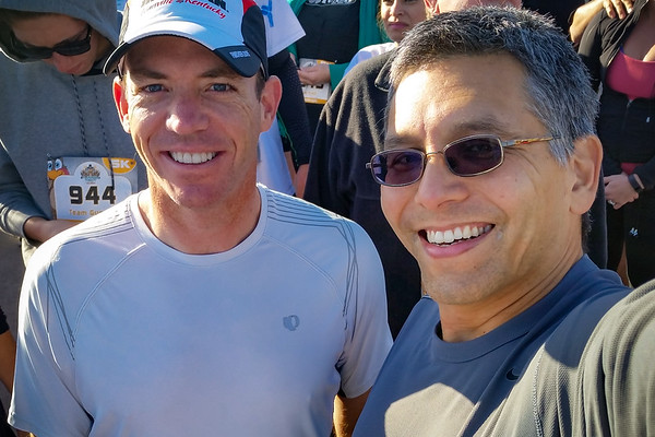 We both signed up for the 5K since Trip was going to run with us, but he had to cancel at the last minute.  If we had known earlier, we would have signed up for the 10K.  Both of us will be running the L.A. Marathon in 2016.