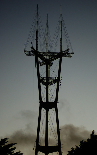 This is the massive radio tower on top of Twin Peaks in San Francisco in the evening.  I considered it for the Silhouette contest but picked another shot from the series in the end.