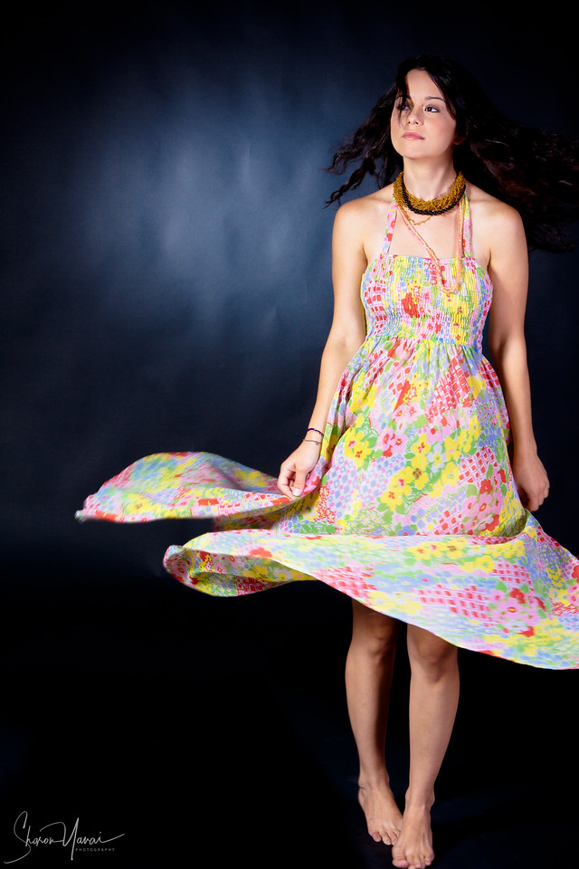 Flowered dress in motion