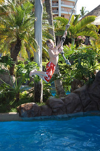 Trevor as Tarzan. The Grand Wailea has some pretty cool pools.