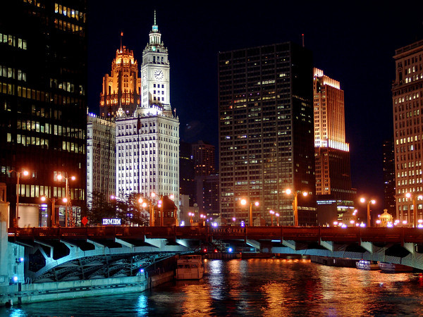 The Wrigley Building and State Street Bridge from the Chicago River