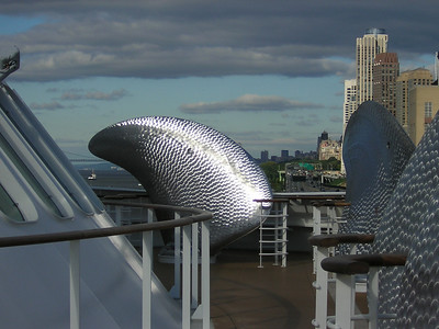 spare propellor blades on the Queen Mary 2 foredeck. Oct 2004